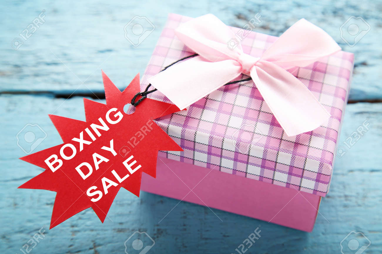 Red Sale Tags With Gift Box And Inscription Boxing Day Sale On ...