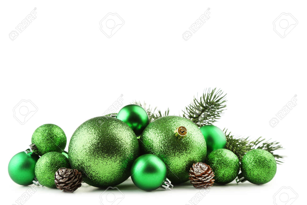 Christmas Baubles.Green Christmas Baubles With Cones Isolated On White Background