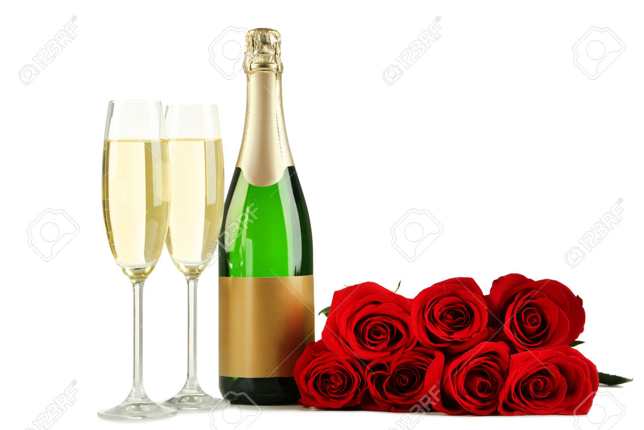 Champagne Bottle With Glasses And Bouquet Of Red Roses On White