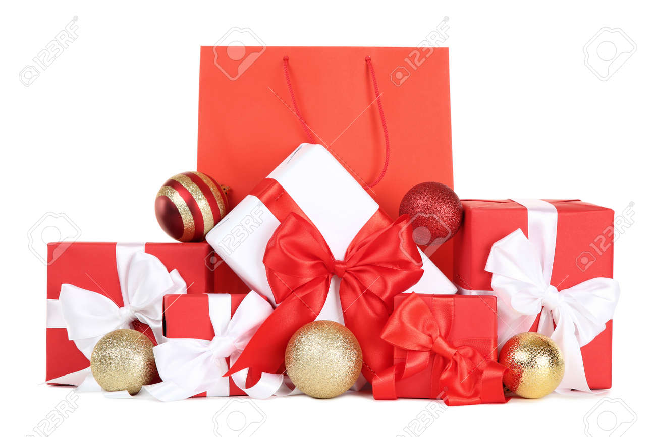 Shopping bag with gift boxes and christmas baubles on white background - 113135890