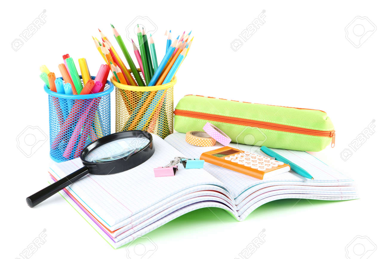 School supplies with notebooks on white background - 123704944