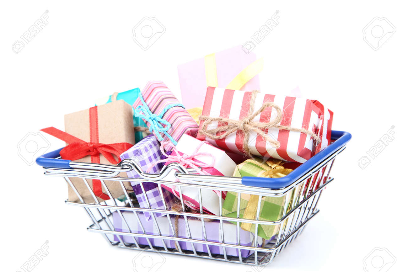 Small shopping cart with gift boxes isolated on white background - 124217011