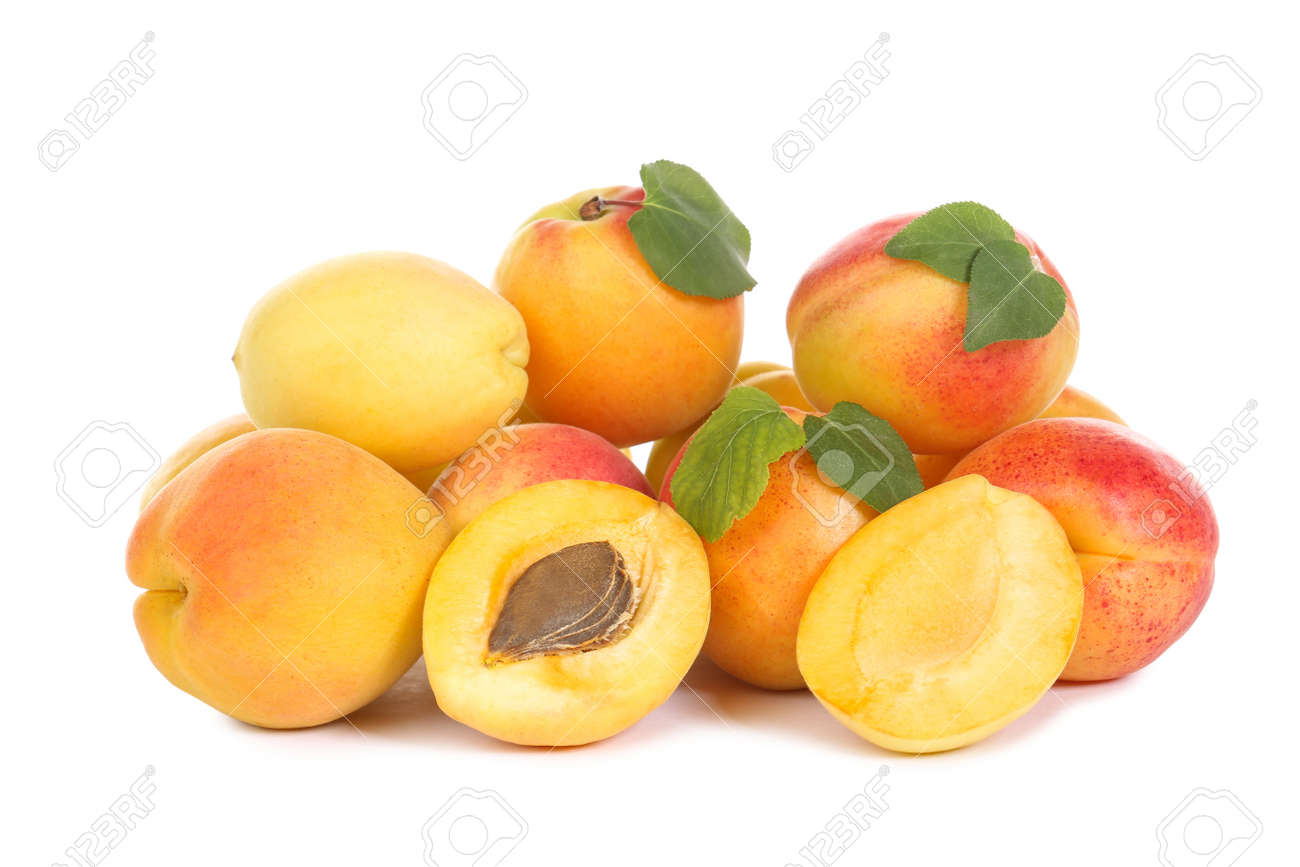 Sweet apricots isolated on white background - 128382445