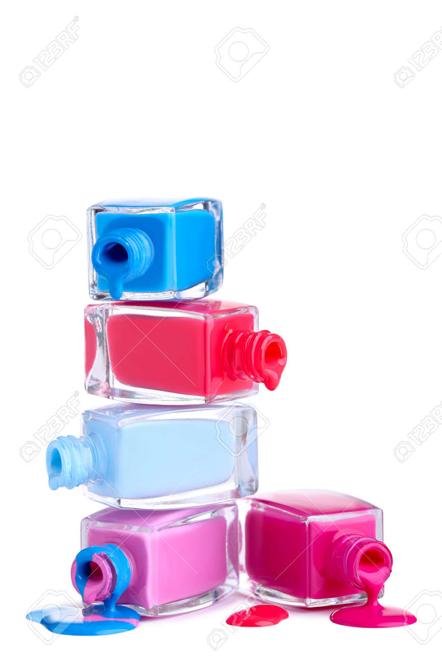 Nail polish splatters and bottles on white - 129153641