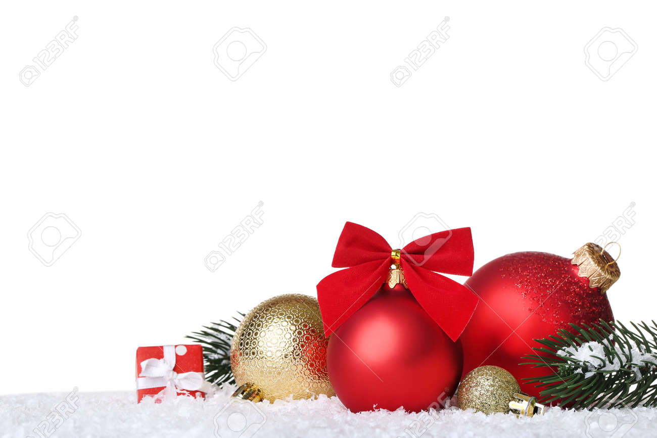 Christmas balls with fir tree branches and gift box on white background - 135261523