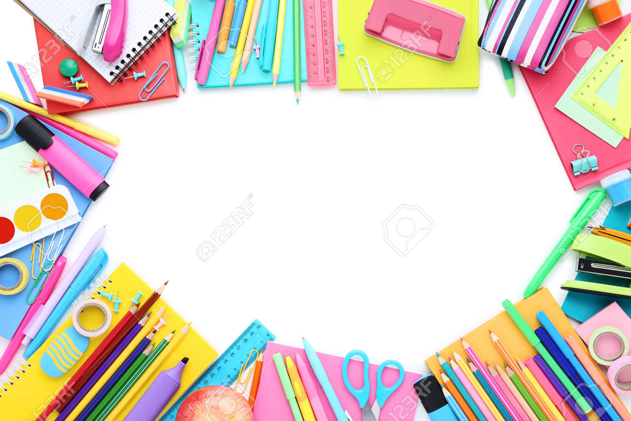 Different school supplies isolated on white background - 156363569
