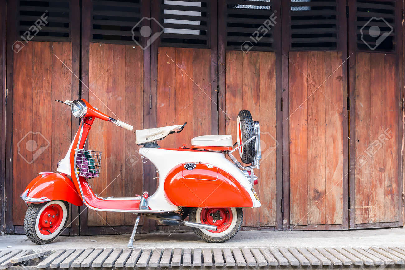 the vintage Vespa in old background on street at countryside,Pai