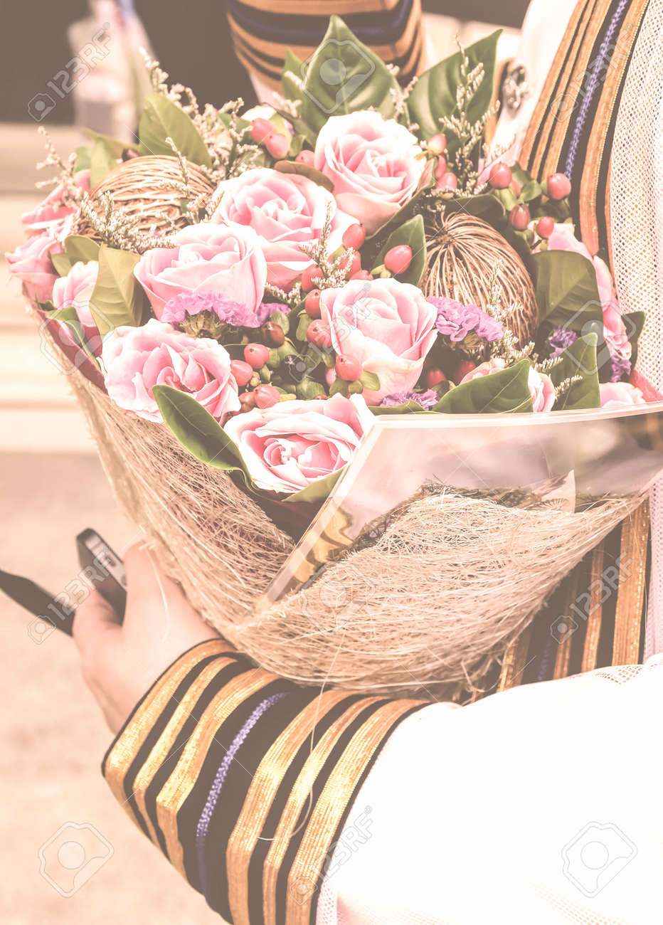 Vintage Style Of Graduation And Beautiful Flower Bouquet Stock Photo ...