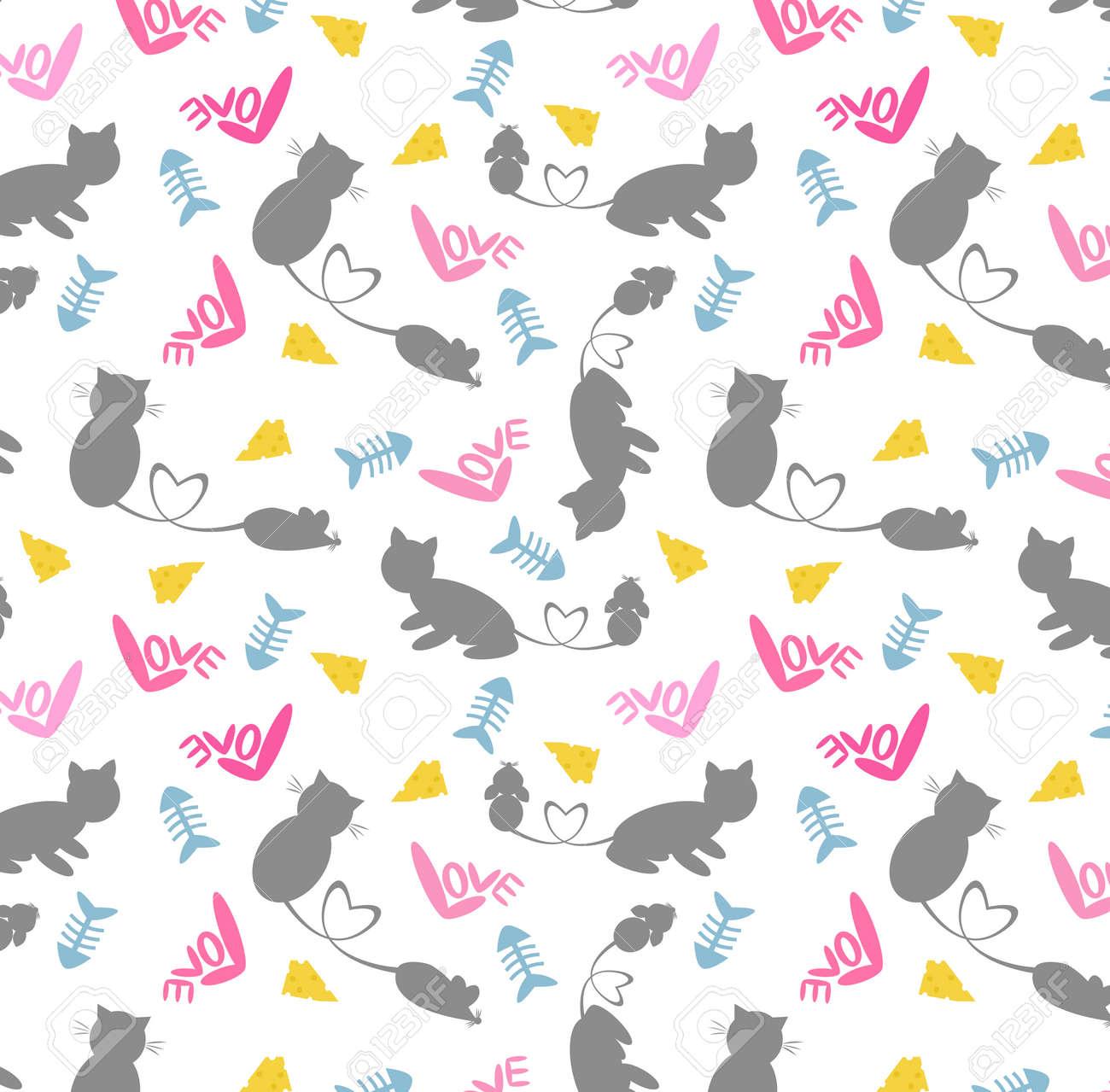 猫とネズミのかわいい漫画パターン ベクトル イラスト猫とネズミ 子供のためのシームレスなパターンのかわいい漫画 猫とネズミの壁紙の背景が大好きです の イラスト素材 ベクタ Image