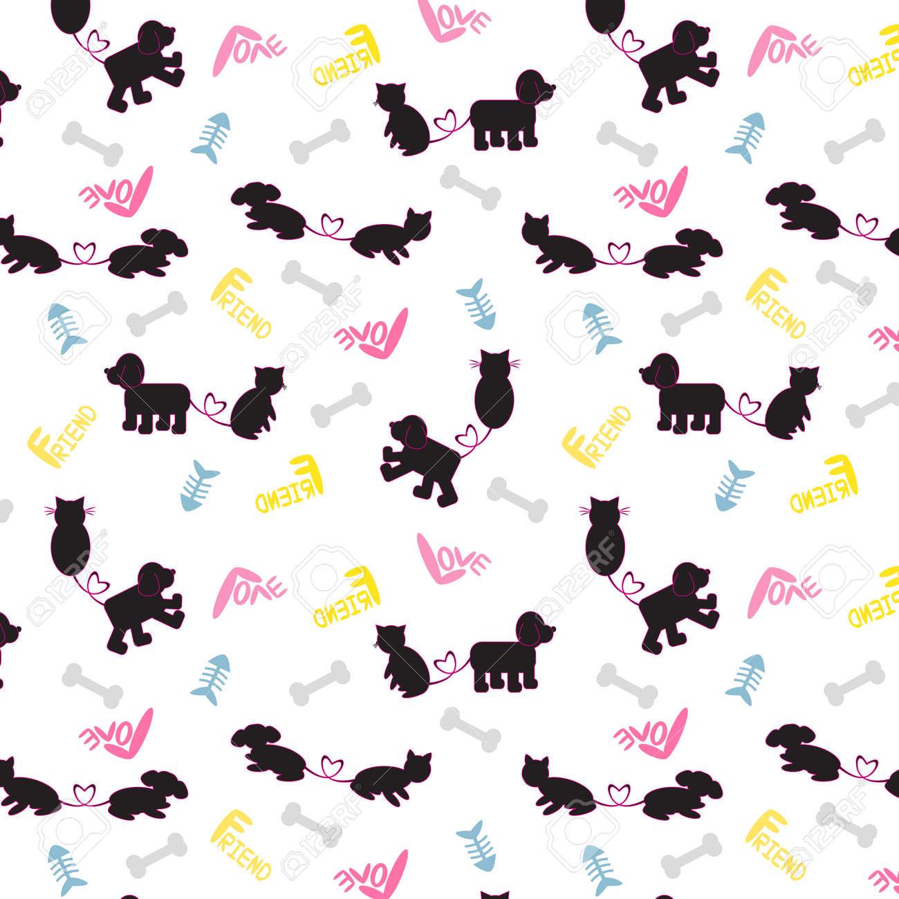 犬猫のかわいい Catoon パターン ベクトルイラストの犬猫の