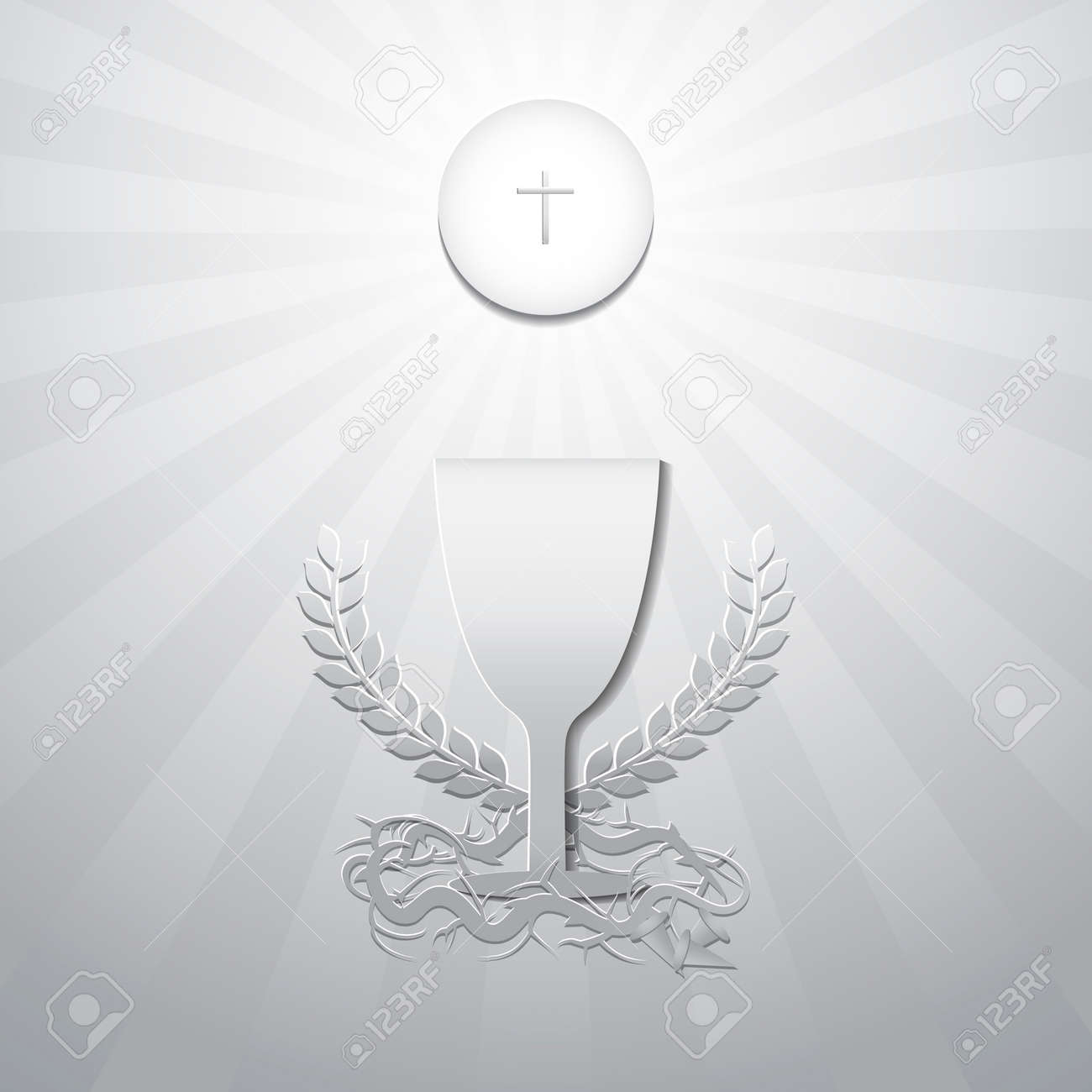 Eucharist symbols. Bread, Chalice with Crown of thorns and 3 nails. First Holy Communion on Thursday in Lent Concept. Symbols of Christianity Catholic and Christian. Design paper cut style. Vector illustration. - 70741210