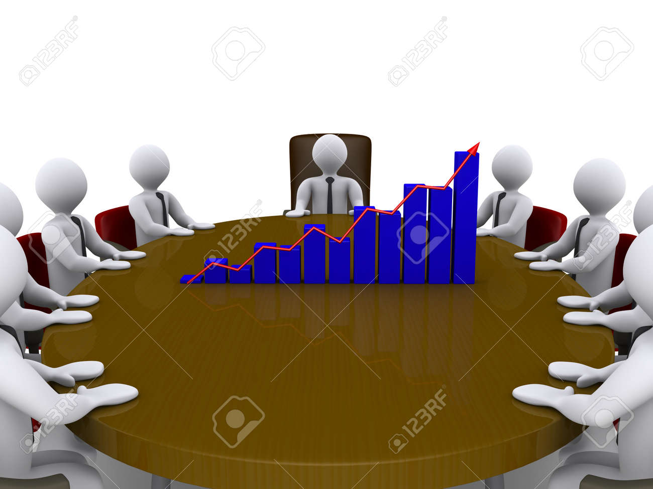 Businessmen sitting around a table which has a chart on top of it Stock Photo - 14522939