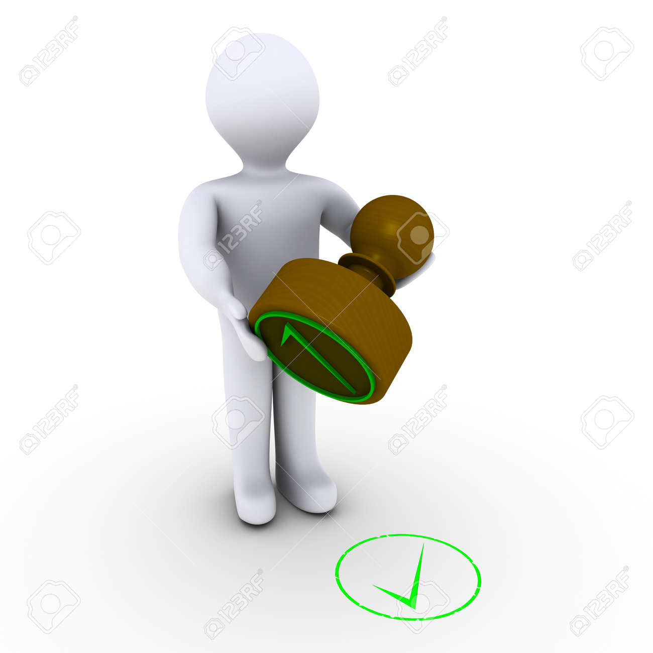 3d Person Holding Stamp In Front Of Check Mark Stock Photo Picture