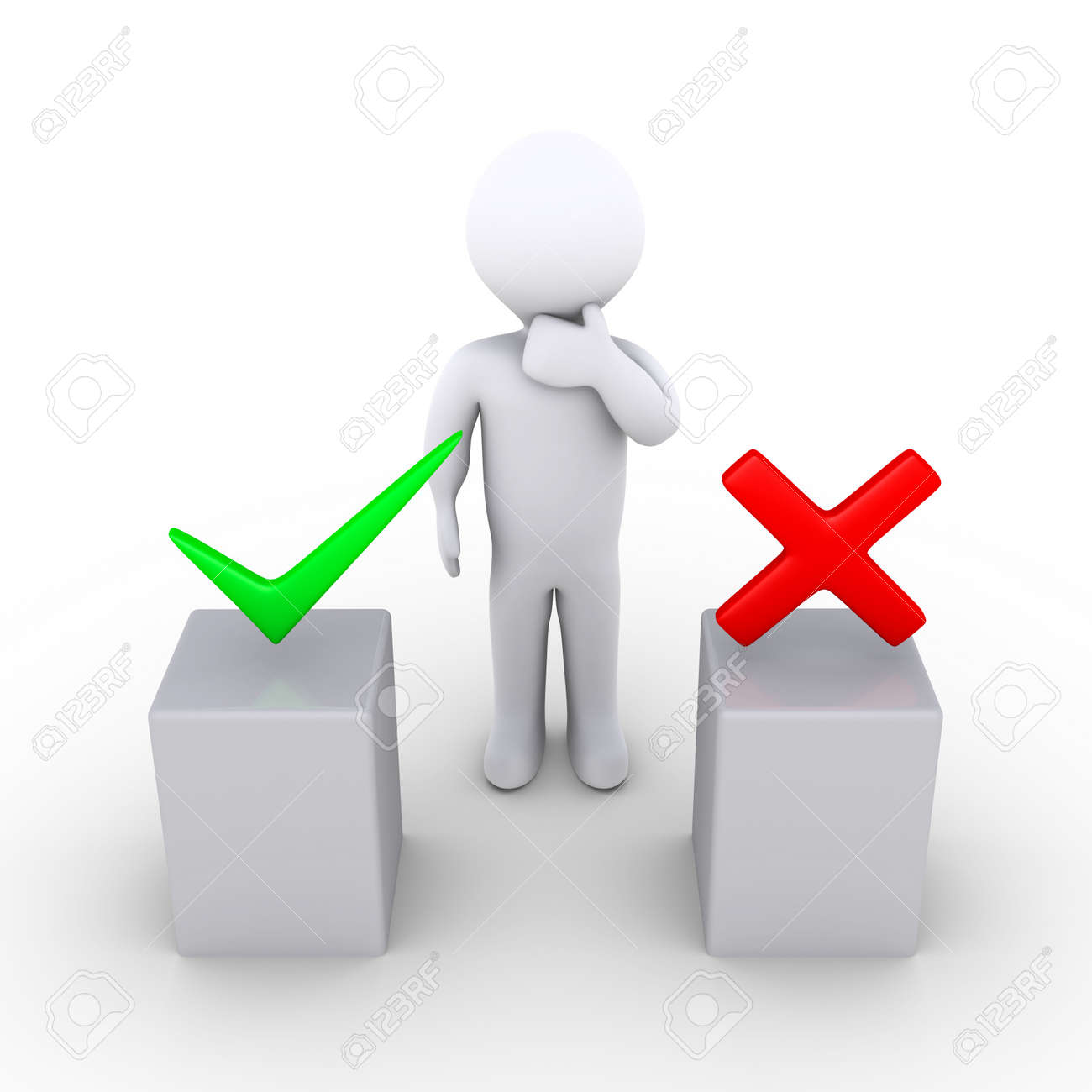 3d person thinking behind two podiums which have right and wrong symbols Stock Photo - 14522811