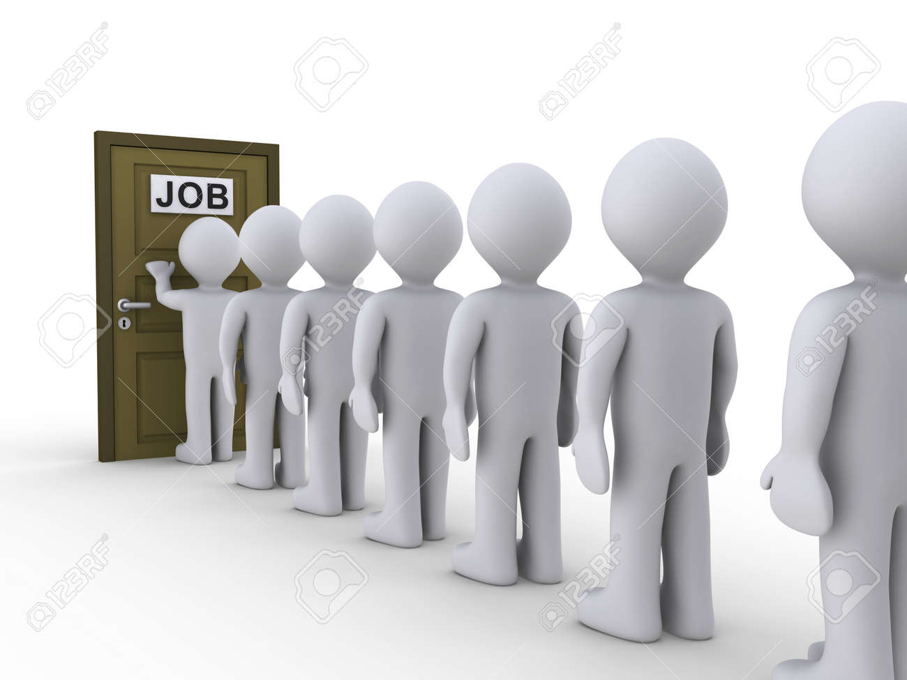 3d people in line waiting for job interview Stock Photo - 14522809