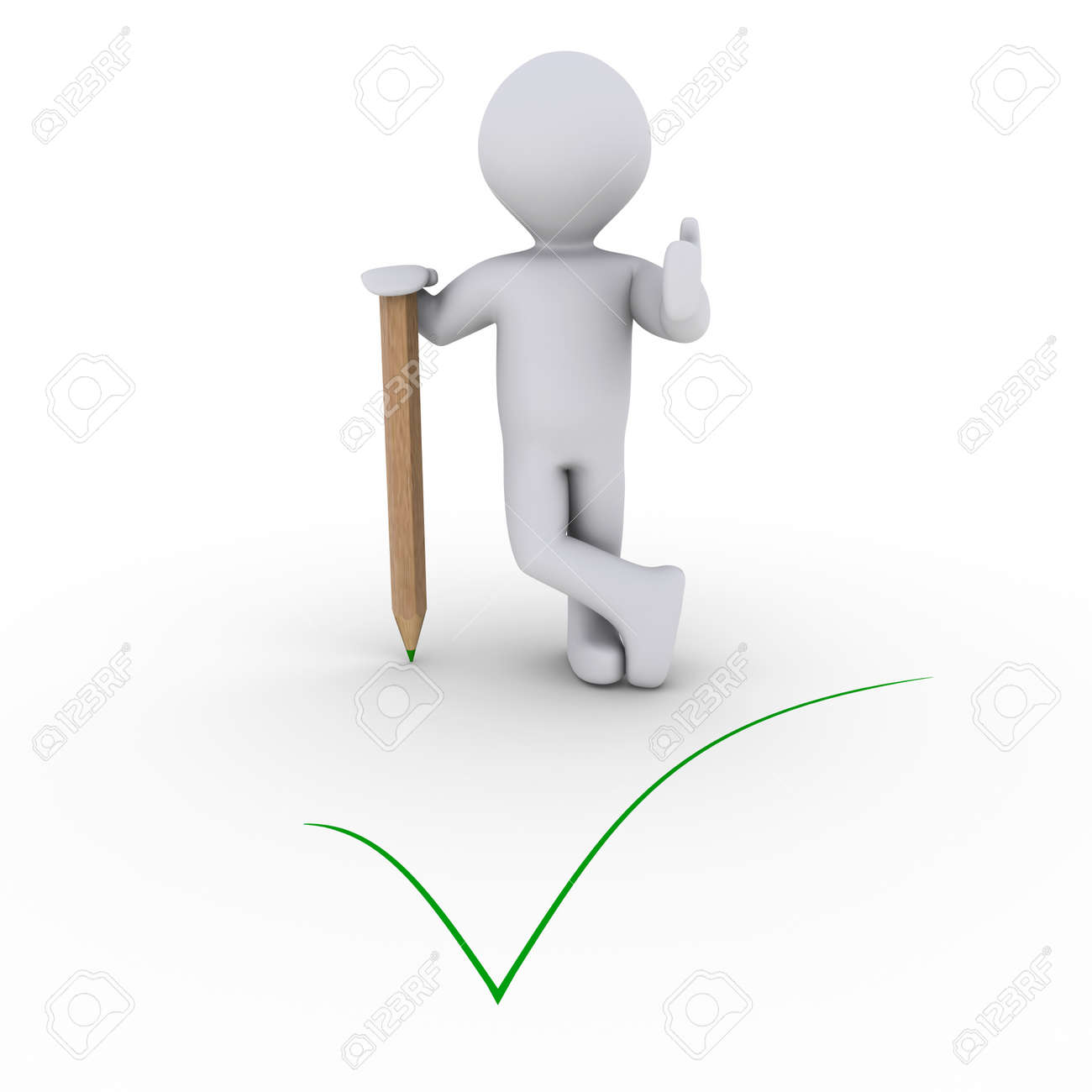 3d person leaning on a pencil behind a green check mark Stock Photo - 14520095