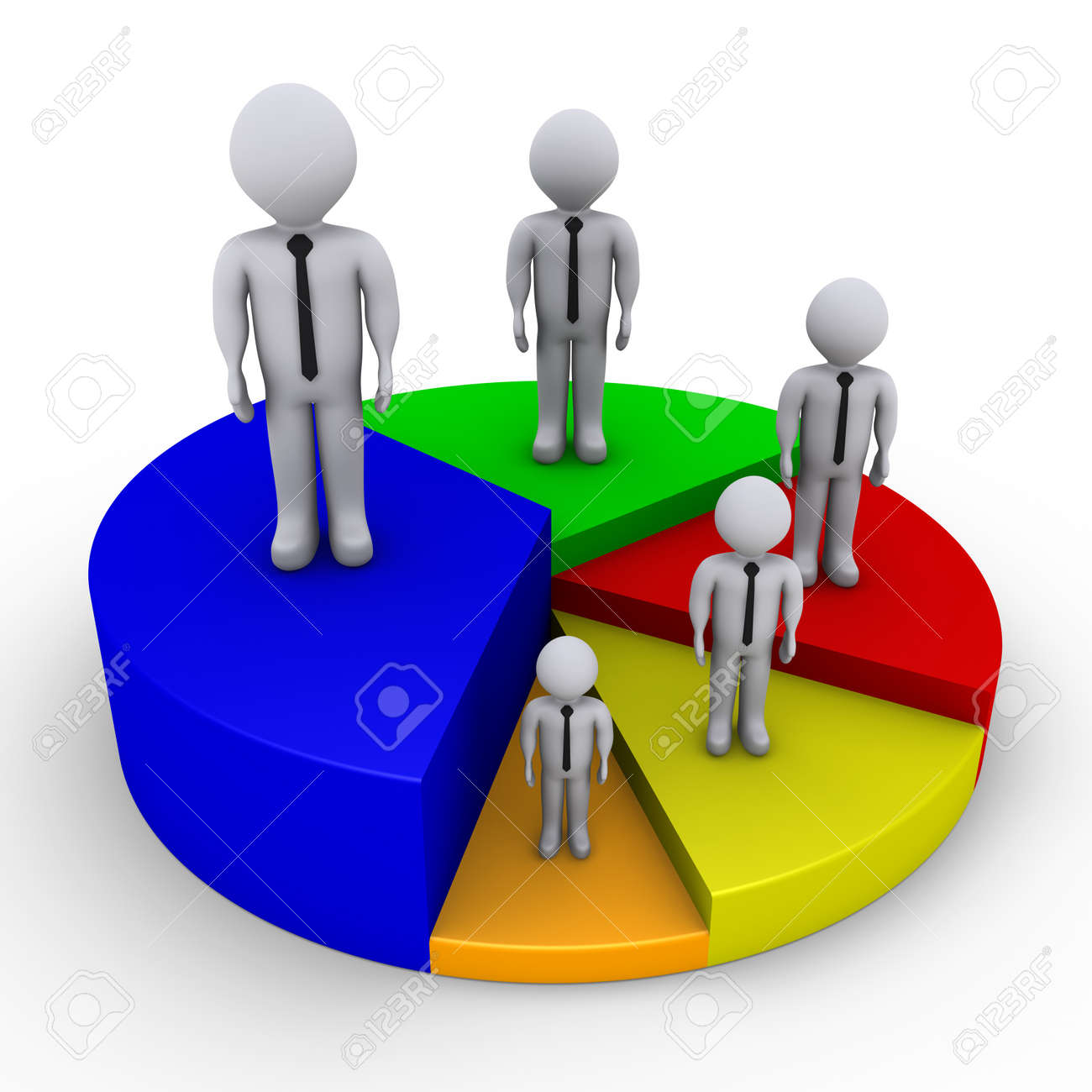 Different sized 3d businessmen on pieces of pie chart stock photo different sized 3d businessmen on pieces of pie chart stock photo 14522993 nvjuhfo Images