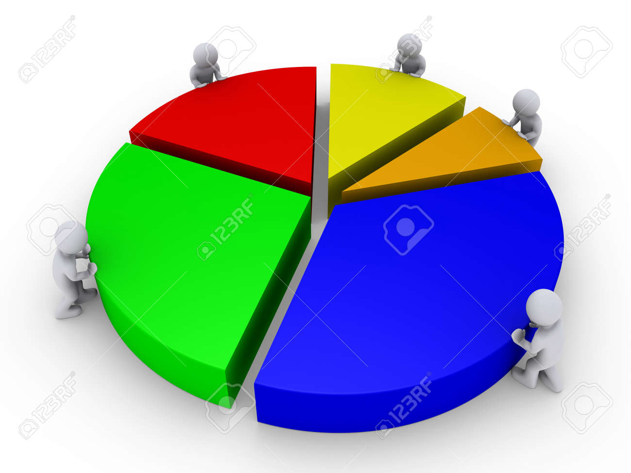 Five 3d people are pushing pieces of pie chart stock photo five 3d people are pushing pieces of pie chart stock photo 14521577 nvjuhfo Images