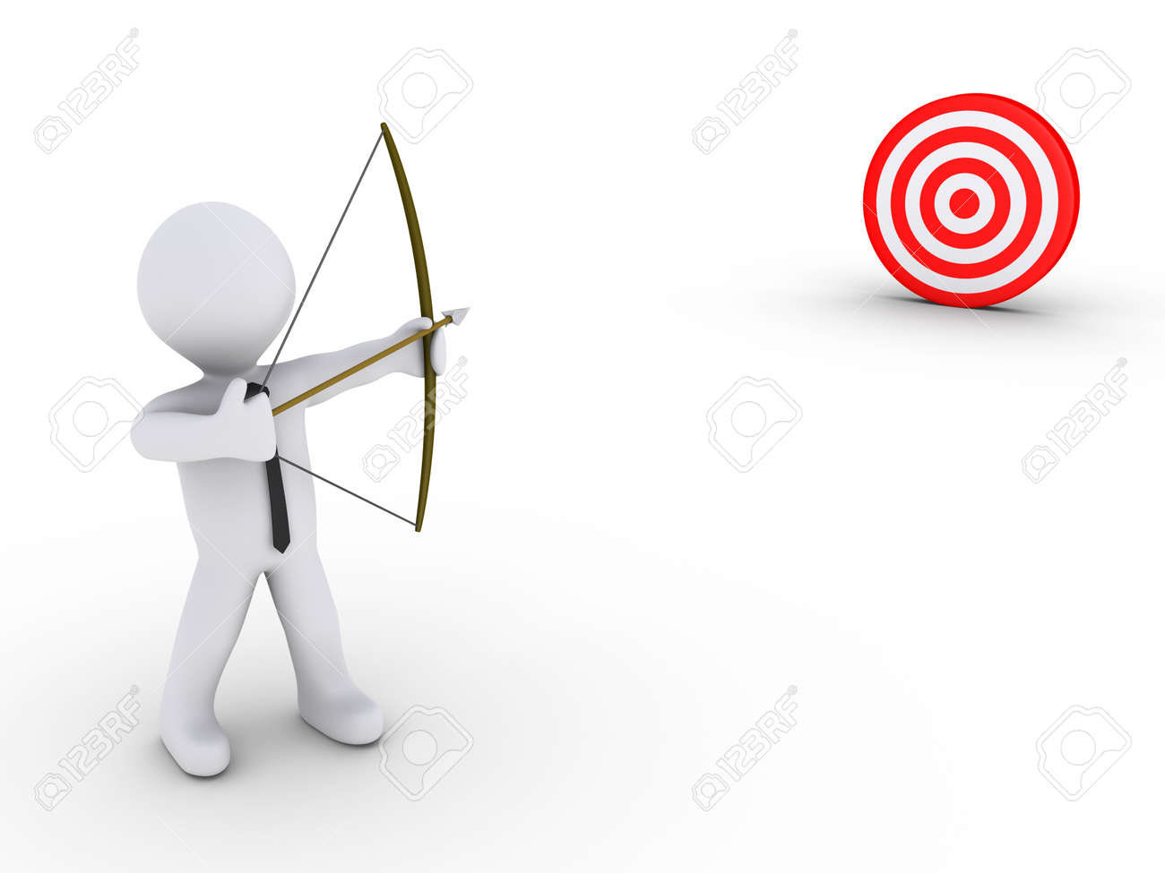 3d businessman as an archer is aiming at a red target Stock Photo - 14519778