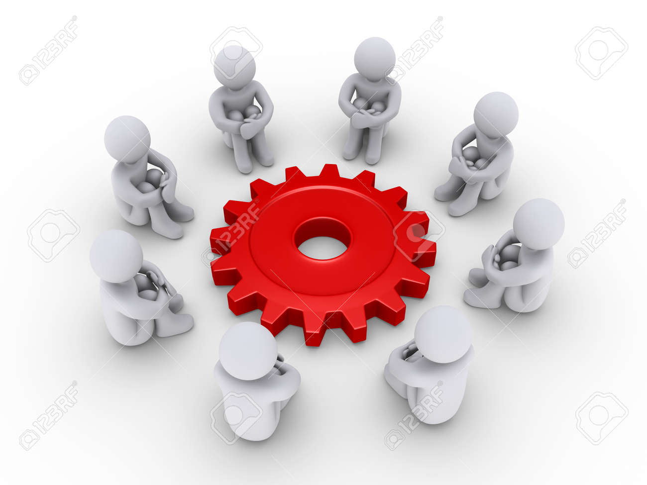 Eight 3d people are sitting around a red cogwheel Stock Photo - 14522813