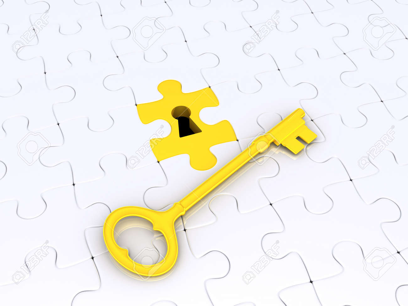 With golden key 3d rendering plan concept with golden key 3d rendering - 3d Golden Key On White Puzzle Pieces With Keyhole Stock Photo 15254664
