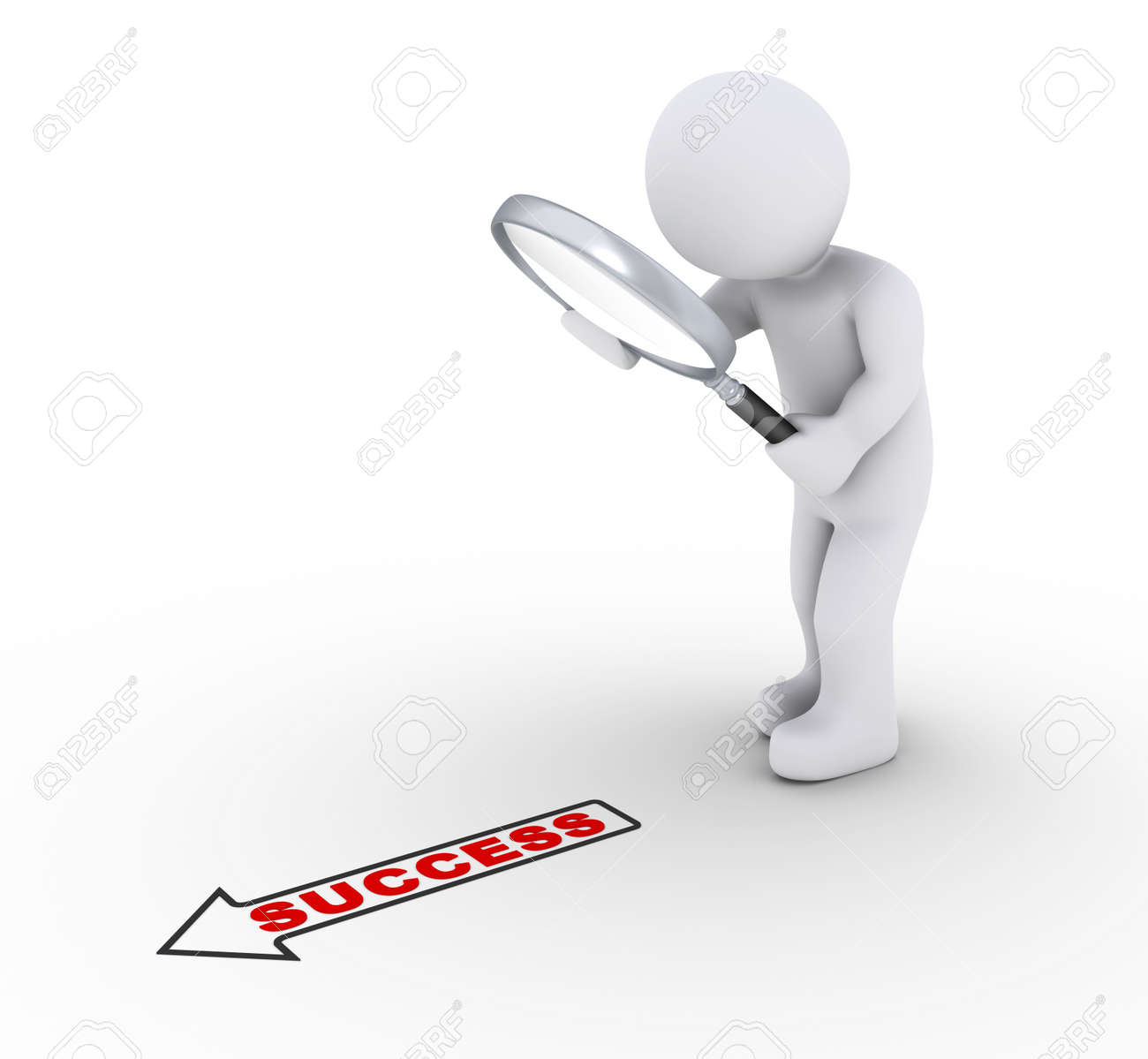 3d person holding a magnifier is looking at a success word with arrow Stock Photo - 17663601