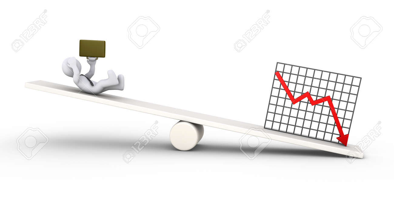 3d Businessman Is Falling Due To Bad Results Diagram On A Seesaw