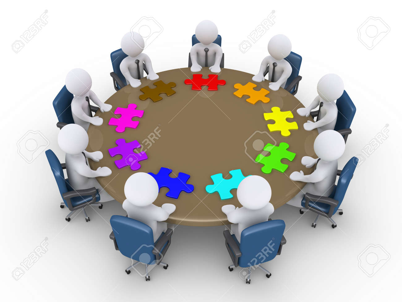 3d businessmen around table and different puzzle pieces in front of them Stock Photo - 20936607