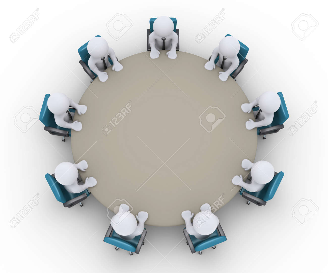 Round table meeting icon - Round Table Meeting 3d Businessmen Are Sitting Around A Table As An Office Meeting