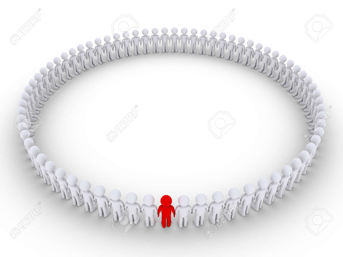 3d people form a very big circle but one is of different color stock