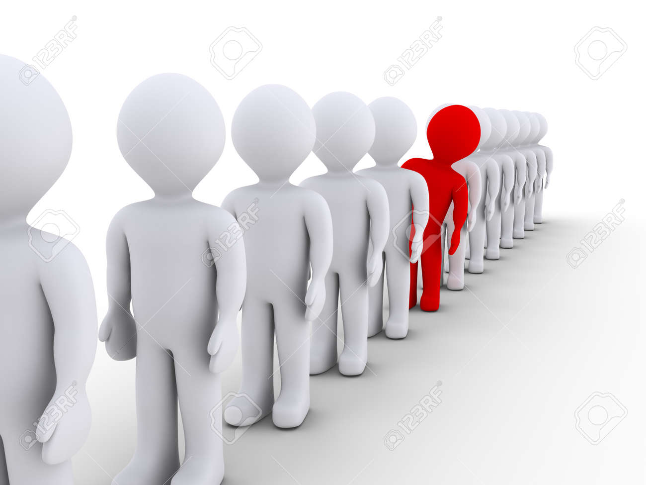 Many 3d people in a row but one stands out - 23585154