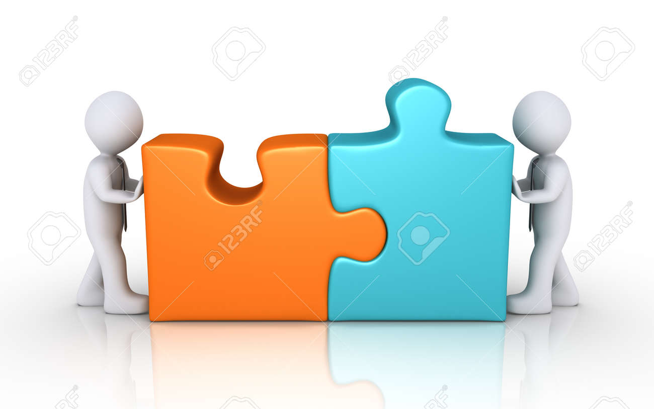 Two Businessmen Connect Different Colored Puzzle Pieces Stock Photo ... 355c87894