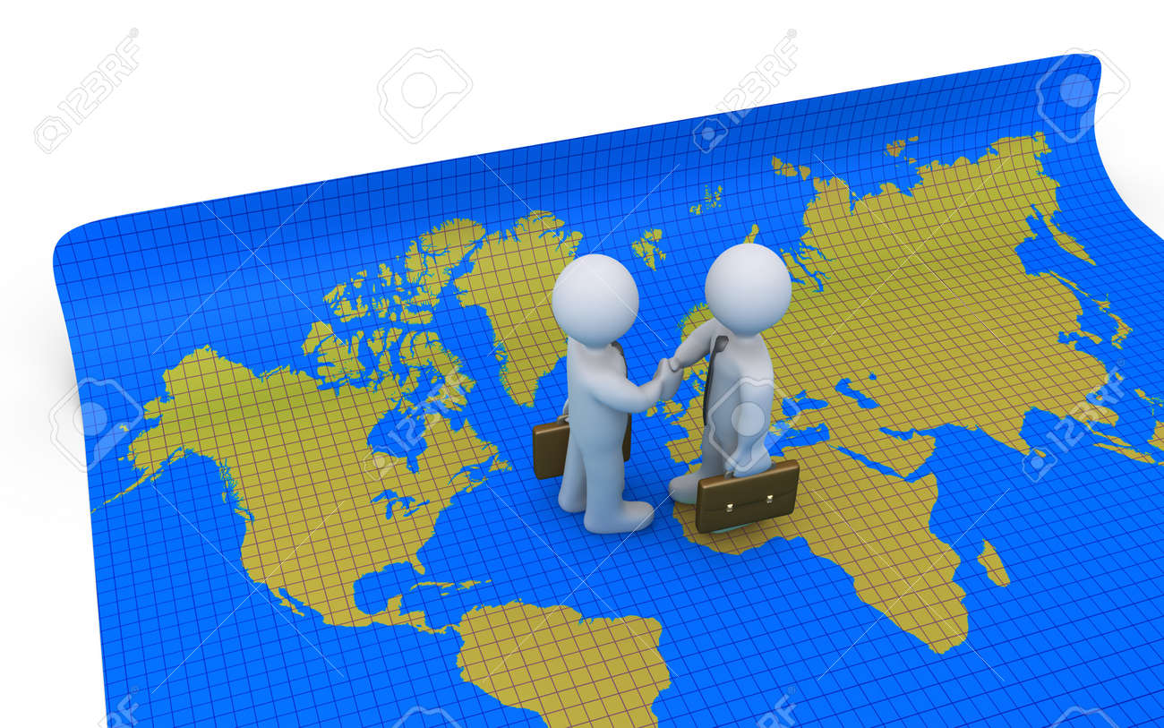 Two businessmen who shake hands are standing on a world map fotos two businessmen who shake hands are standing on a world map foto de archivo 38897320 gumiabroncs Gallery