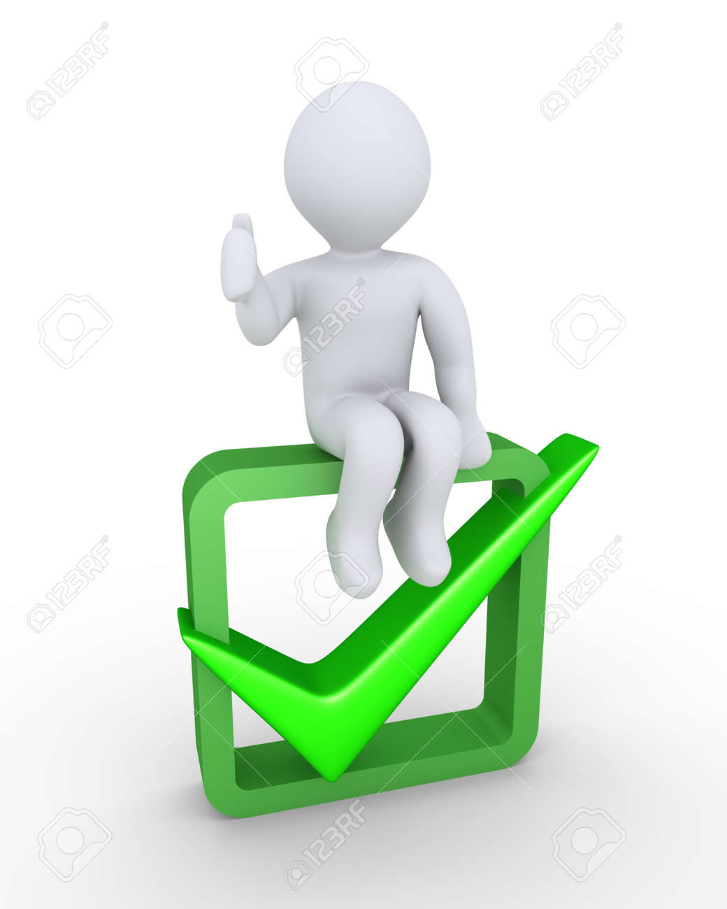 Person with his thumb pointing up is sitting on a box with the person with his thumb pointing up is sitting on a box with the check mark symbol biocorpaavc