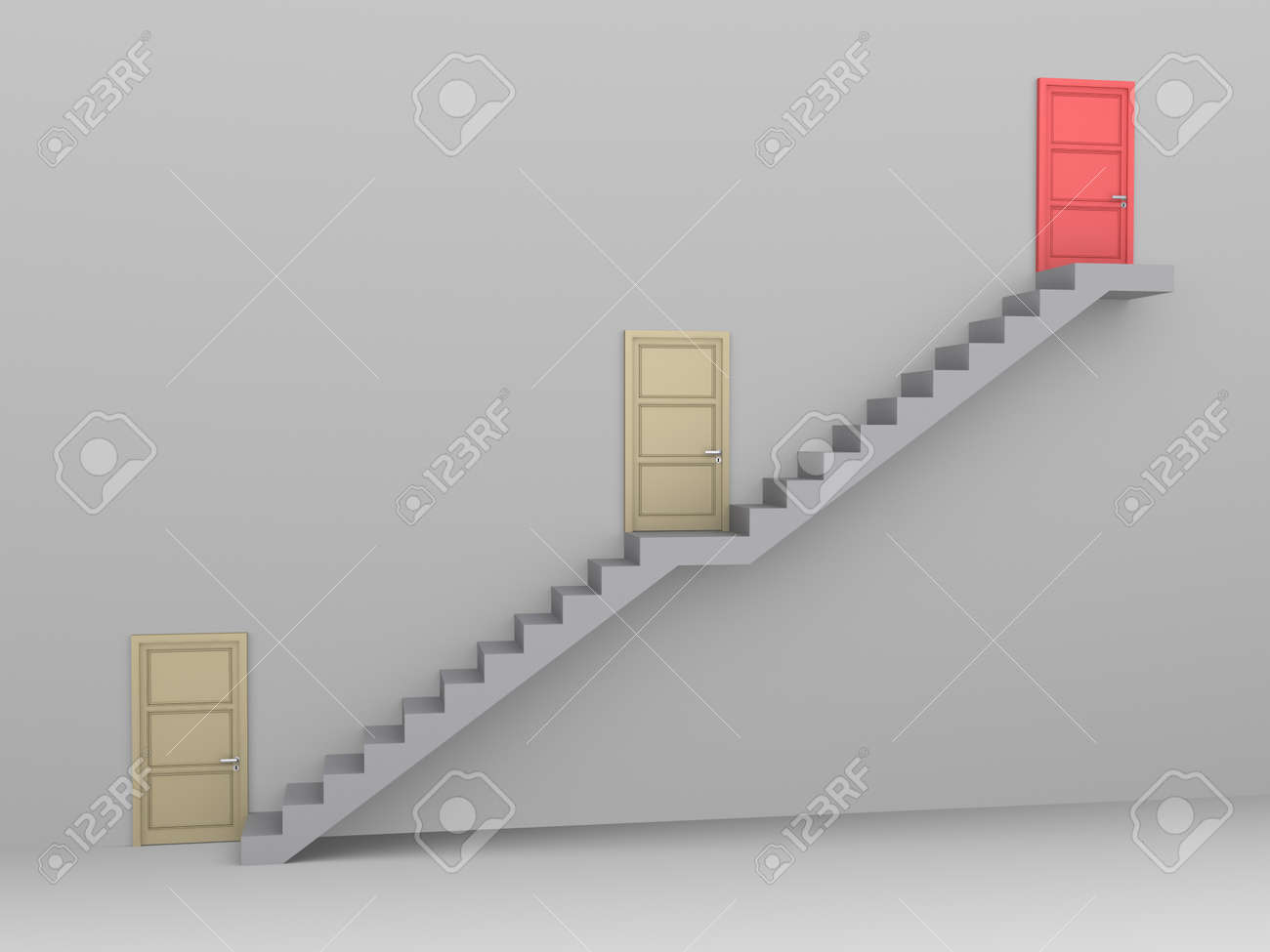 Staircase with three doors and the higher one is the best - 53773867