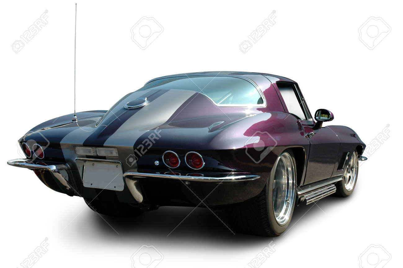 Purple Muscle Car Rear Stock Photo Picture And Royalty Free Image