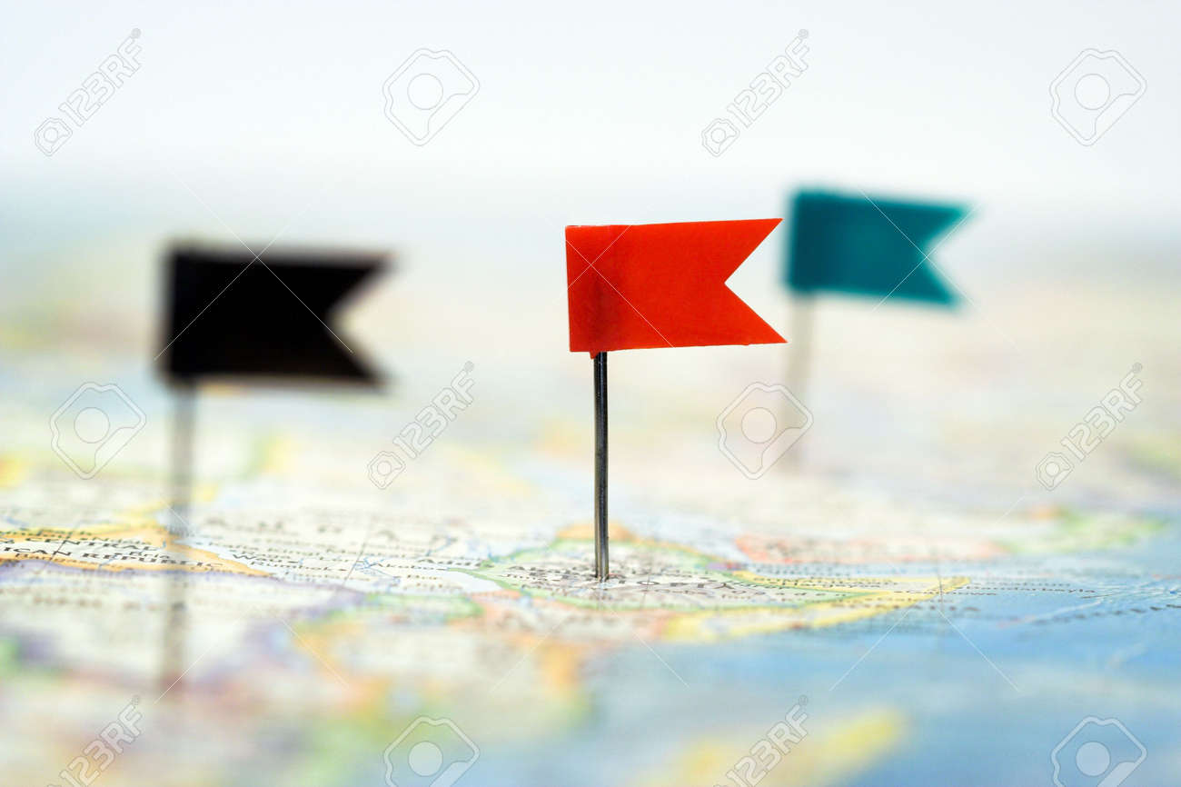 Some Color Flag Pins On Map Shallow Focus Stock Photo Picture And - Flag pins for maps