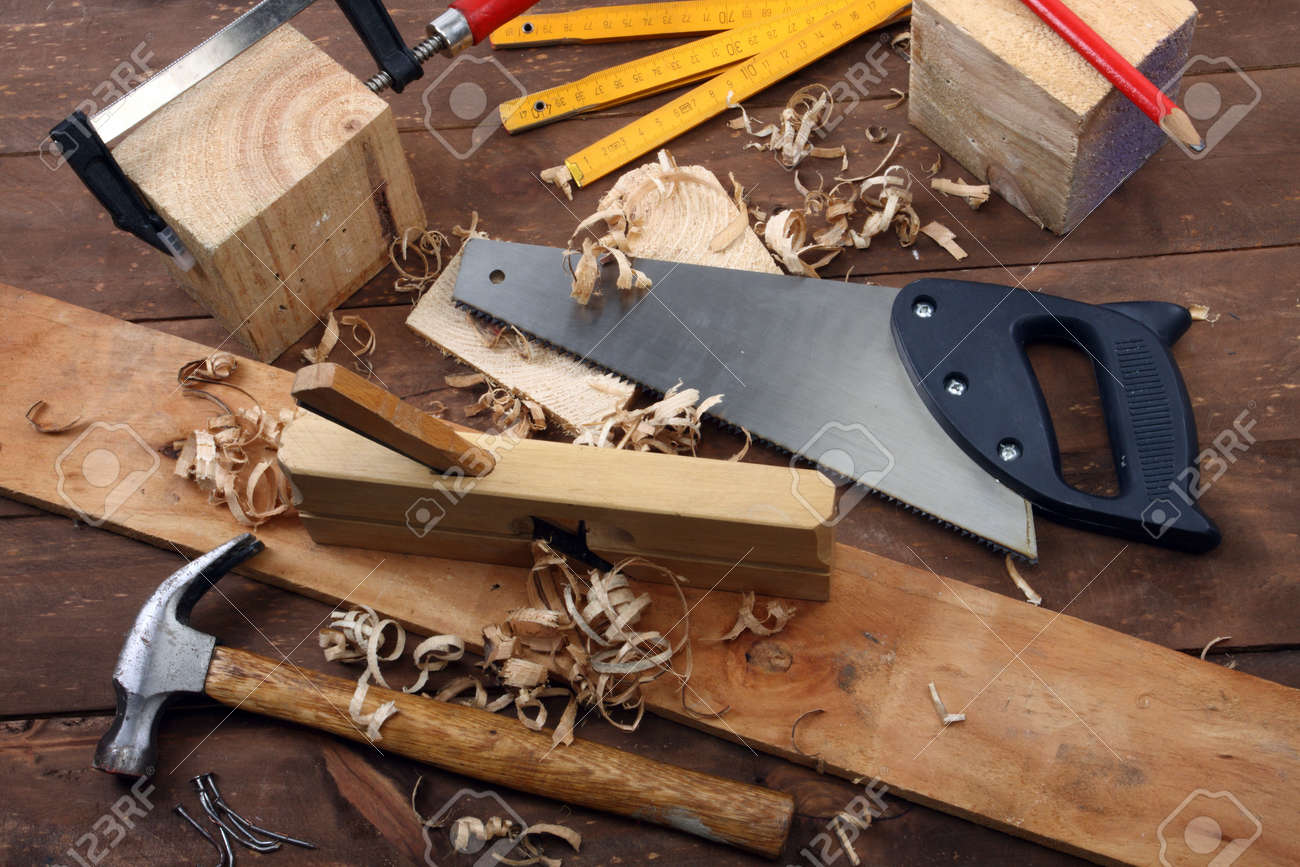 carpenter s tools on a workbench stock photo picture and royalty