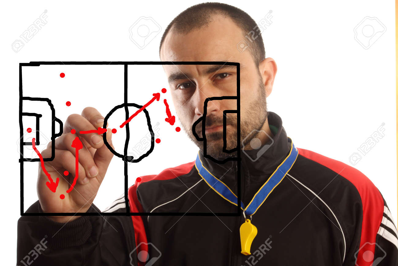 soccer manager drawing a tactical plan Stock Photo - 9300381