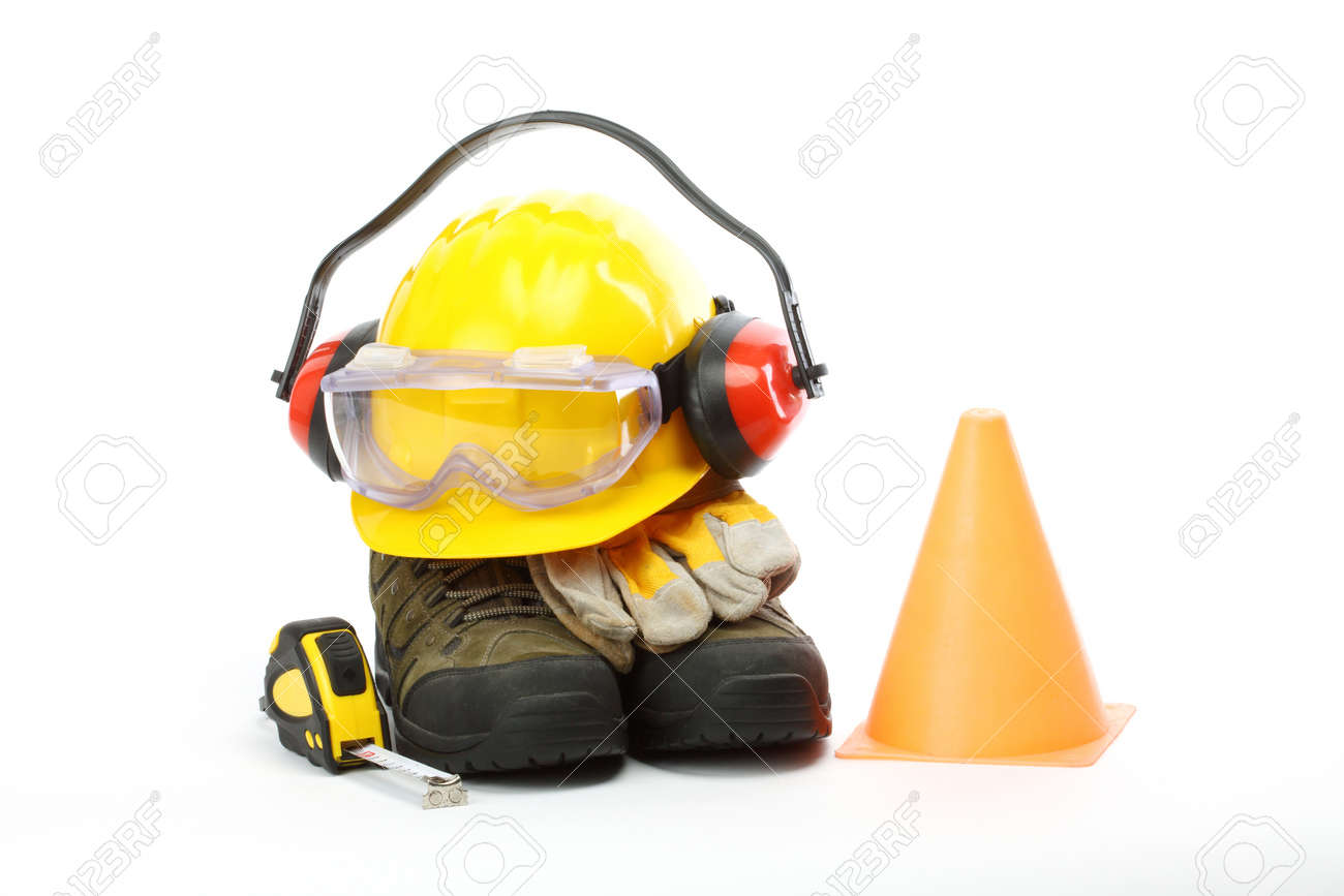 Safety gear kit close up over white Stock Photo - 11554074