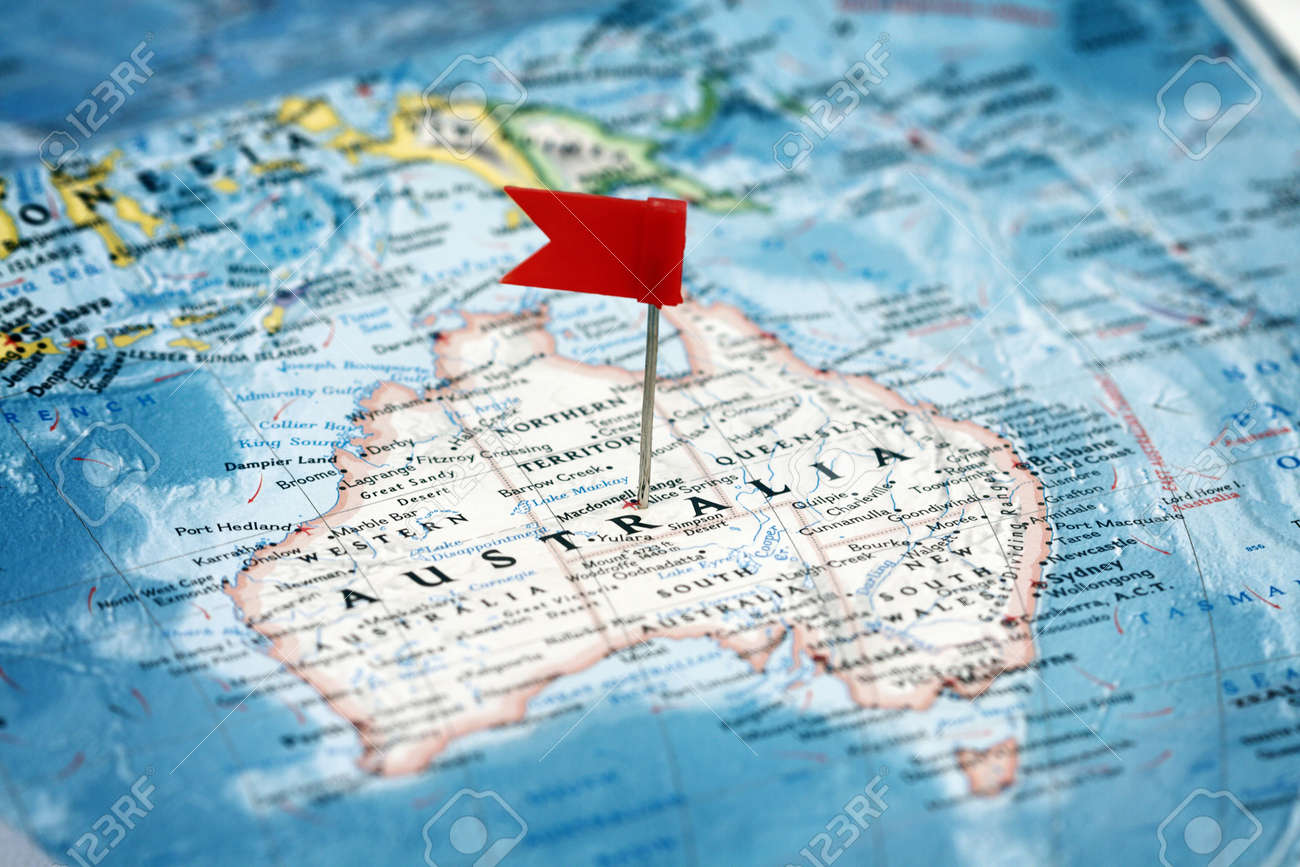 Flag pin on the map pointing australia stock photo picture and flag pin on the map pointing australia stock photo 12727766 gumiabroncs Images