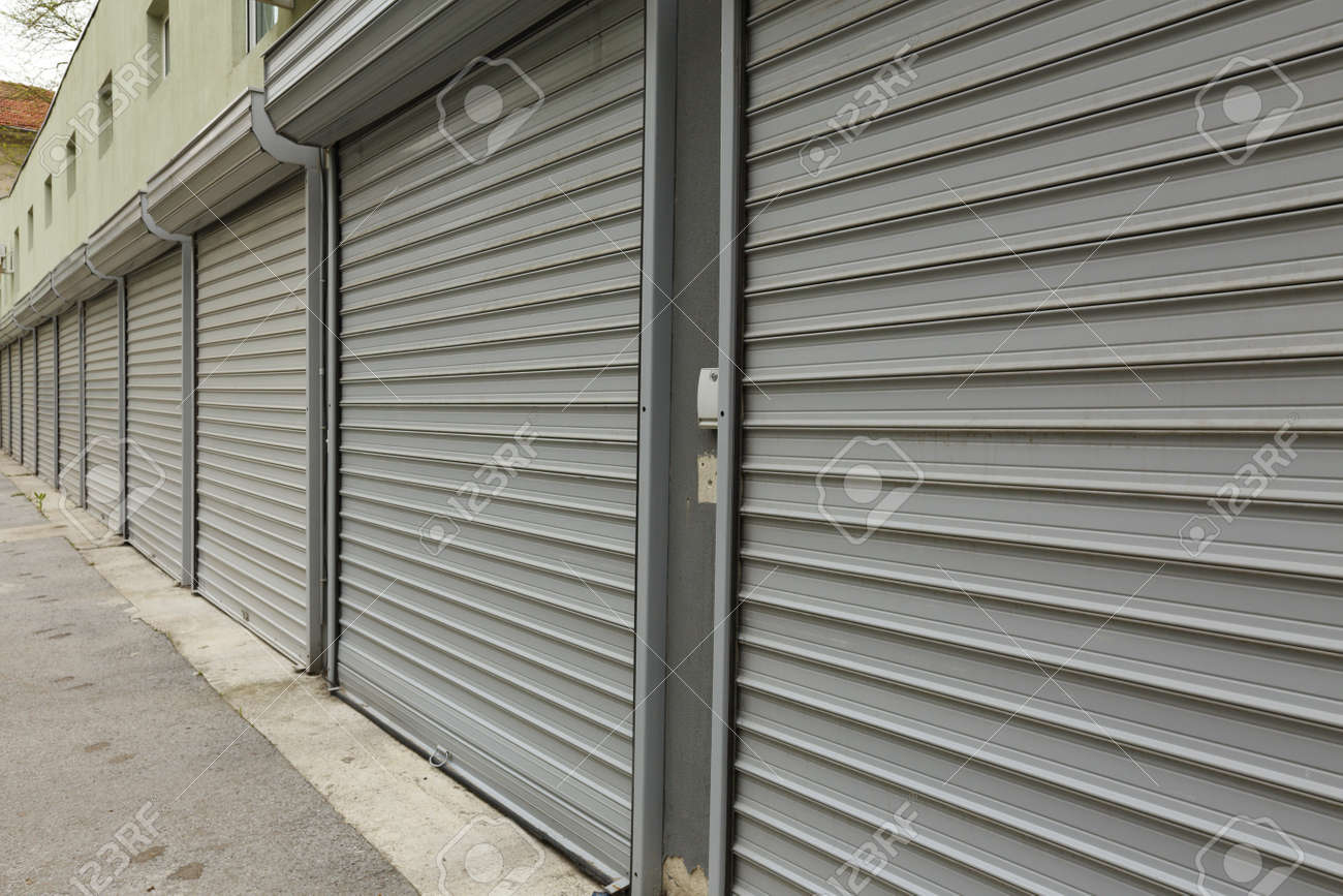 corrugated metal doors of garages Stock Photo - 28295193 & Corrugated Metal Doors Of Garages Stock Photo Picture And Royalty ...