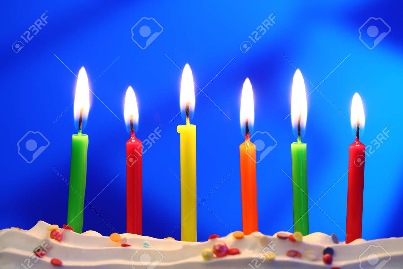 six lit birthday candles close up shallow dof stock photo picture