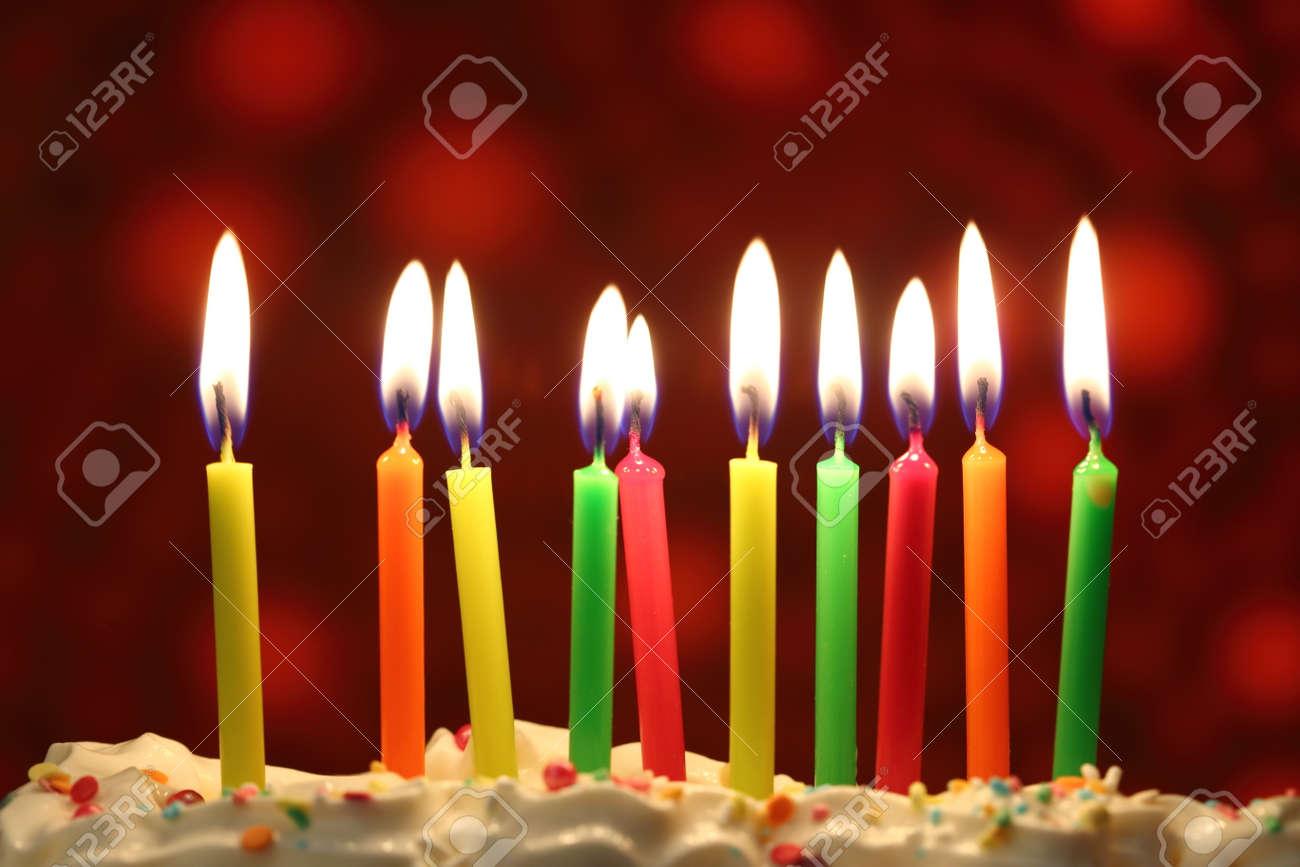 Ten Lit Birthday Candles Close Up Shallow Dof Lizenzfreie Fotos