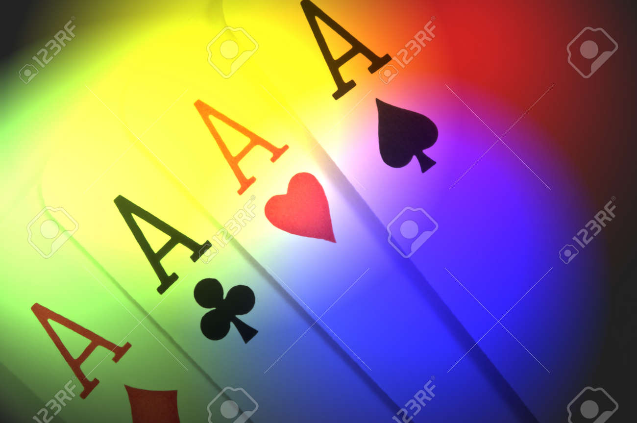 Close up of four ace playing cards with multicoloured light effect filter Stock Photo - 9004657
