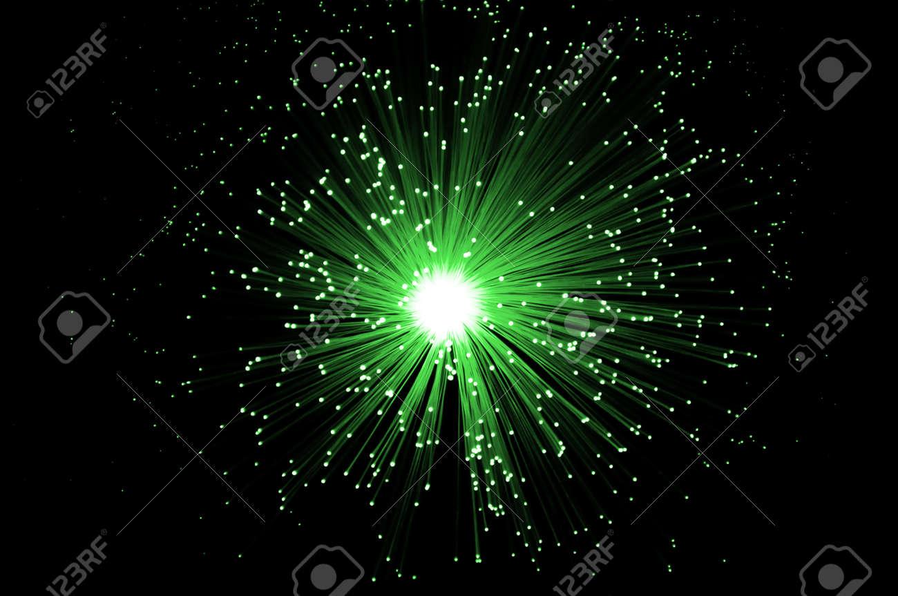Overhead Of Illuminated Green Fiber Optic Light Strands Against