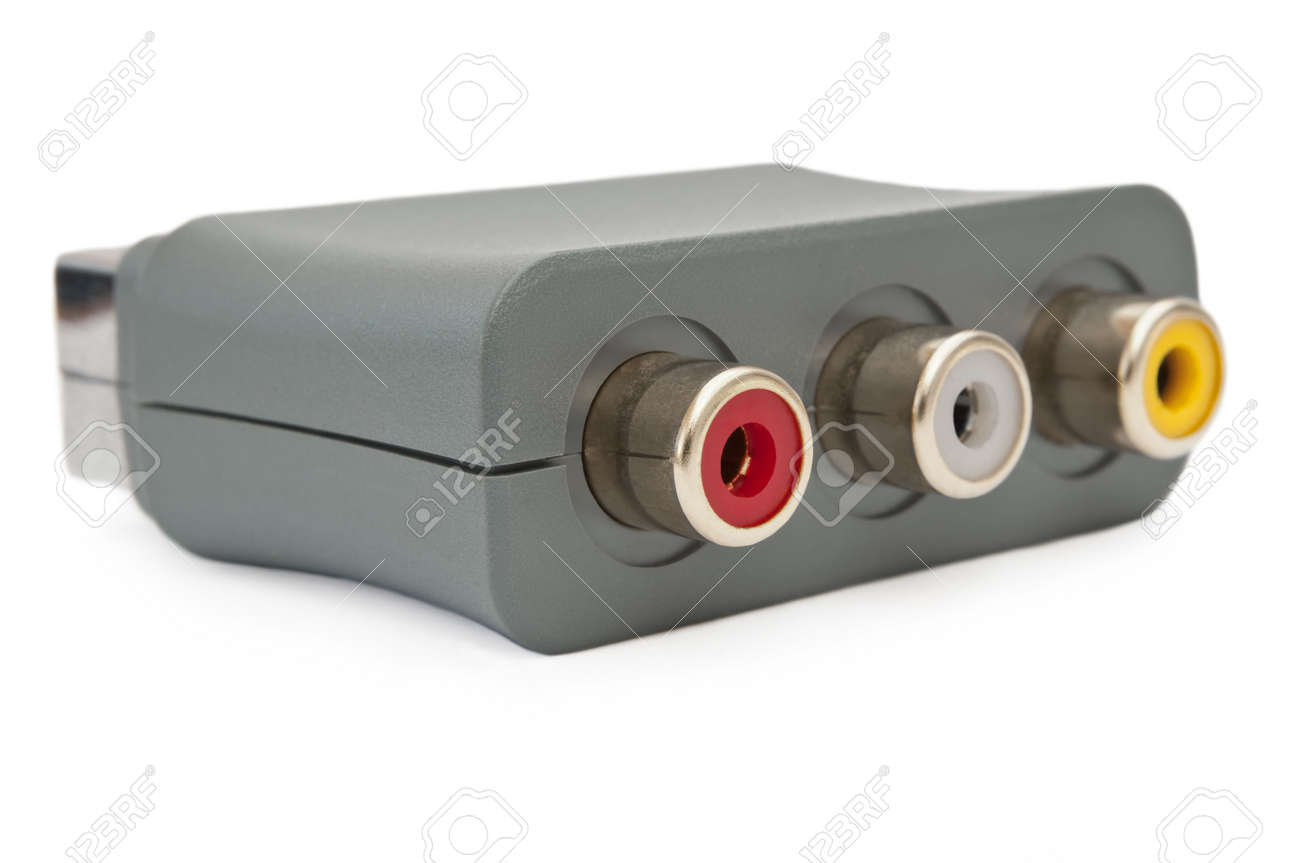 Close up and low level capturing a single scart adapter block arranged over white. Stock Photo - 10654247