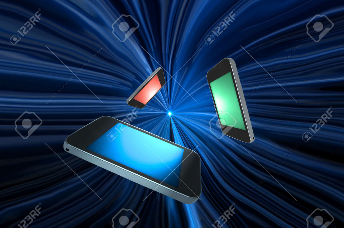 Three blank telecommunication devices with illuminated screens in a variety of colours giving the appearance of moving towards the centre of a blue motion zoom effect against a black background. Stock Photo - 10983061
