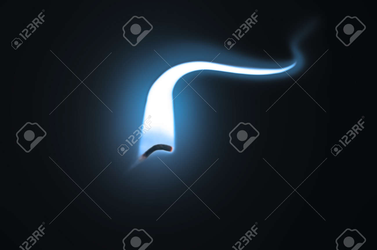 Close up on an ignited candle wick with extended blue flame against a black background. Stock Photo - 11103967