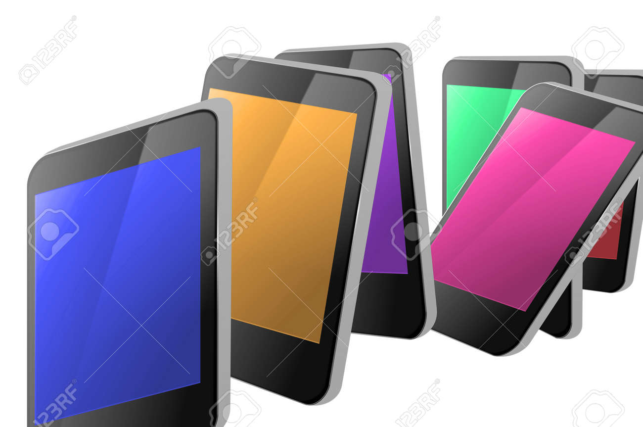 A selection of many illustrated blank communication devices in a jumbled arrangement each with different colour display against a white background. Stock Photo - 11307119
